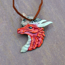 Load image into Gallery viewer, Red Pewter Dragon Head Pendant
