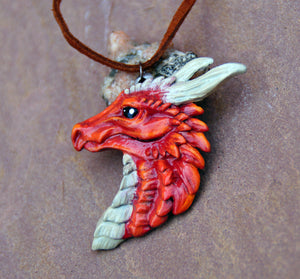 Red Pewter Dragon Head Pendant