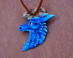 Magic Blue Pewter Dragon Head Pendant