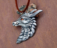 Load image into Gallery viewer, Orange Eye Pewter Dragon Head Pendant