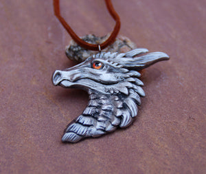 Orange Eye Pewter Dragon Head Pendant