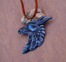 Load image into Gallery viewer, Grey Pewter Dragon Head Pendant