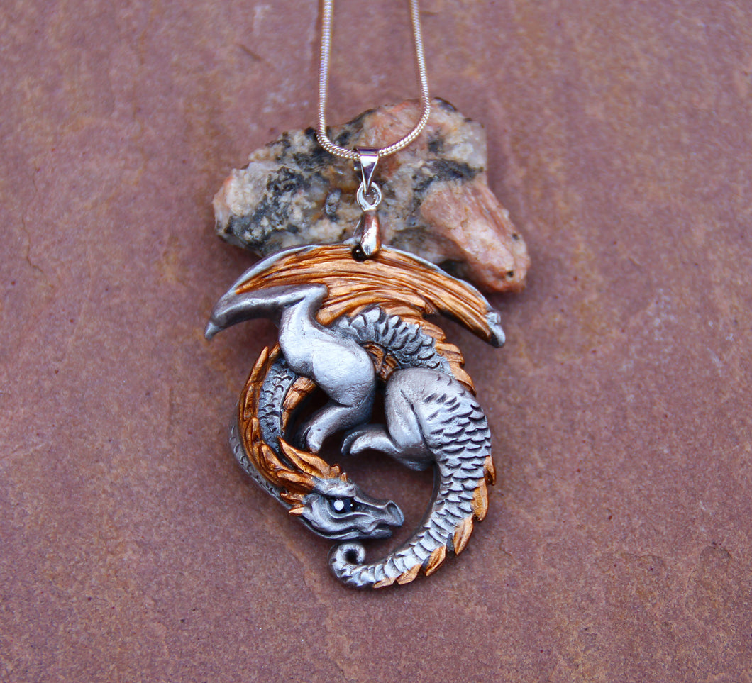 Goldwing Guardian Dragon Pewter Pendant