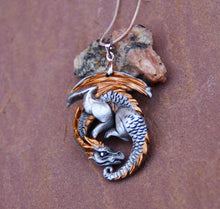 Load image into Gallery viewer, Goldwing Guardian Dragon Pewter Pendant