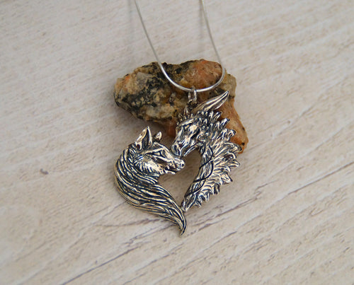 Sterling silver Love Wolf/Dragon pendant