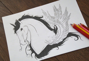 (Digital Download) Valentine's Pegasus Lineart Colouring Page A4