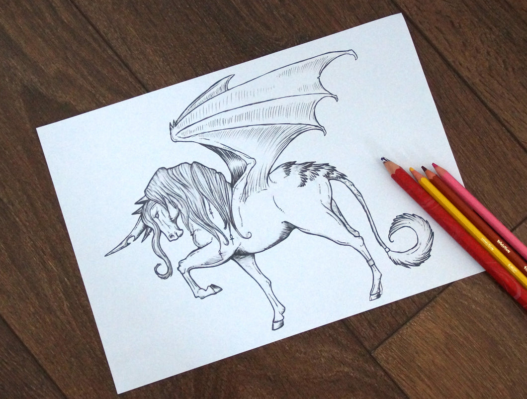 (Digital Download) Dragon Wing Unicorn Lineart Colouring Page A4