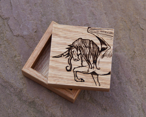 Dragonwing Unicorn Solid Oak 6cm Wooden Box