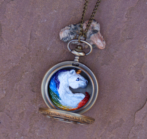 Rainbow Unicorn Pocket Watch Creature