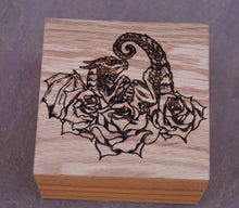 Load image into Gallery viewer, Rose Dragon Hatchling Solid Oak 9cm Wooden Box (Made to Order)