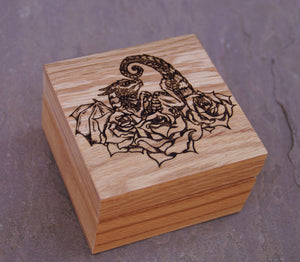 Rose Dragon Hatchling Solid Oak 9cm Wooden Box (Made to Order)