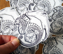 Load image into Gallery viewer, Transparent D20 Dragon Sticker