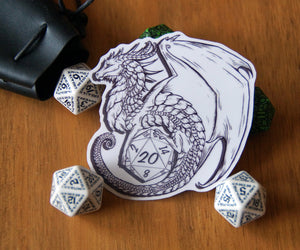 Transparent D20 Dragon Sticker