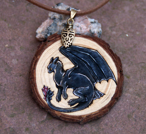Black Dragon Wood Slice Pendant