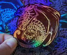 Load image into Gallery viewer, Silver Holo D20 Dragon Sticker