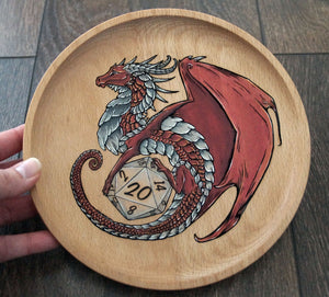 Red Hand Painted D20 Guardian Dish