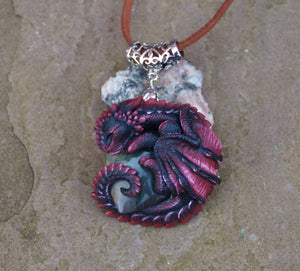 Lothric the Sleeping Labradorite Guardian Dragon Pendant