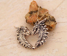 Load image into Gallery viewer, Sterling silver Love Dragon pendant