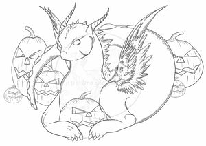 (Digital Download) Halloween Dragon Lineart Colouring Page A4