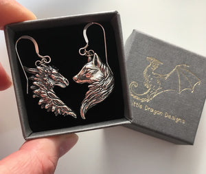 Sterling Silver Dragon/Wolf Earrings