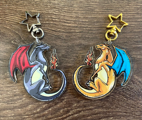 Charizard Double Sided Clear Acrylic Pendant
