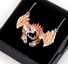 Load image into Gallery viewer, Choose your Colours: Dragon Embrace Pewter Pendant