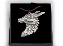 Load image into Gallery viewer, Choose your colours: Dragon Head Pewter Pendant