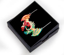 Load image into Gallery viewer, Red and Green Dragon Embrace Pendant