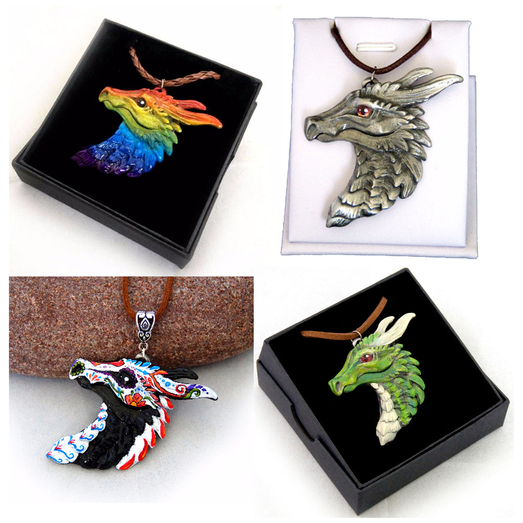 Choose your colours: Dragon Head Pewter Pendant