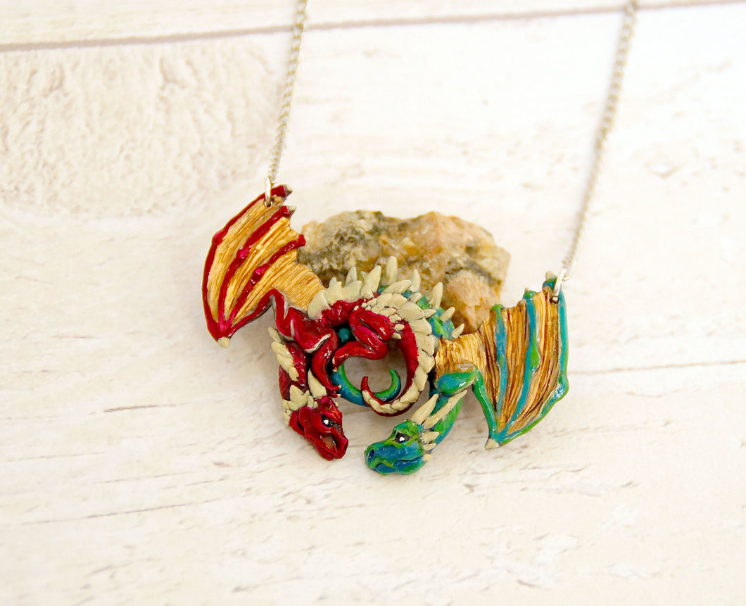 Red and Green Dragon Embrace Pendant