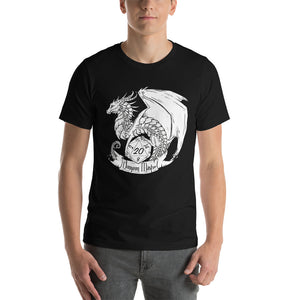Dungeon Master D20 Dragon (Black and White) Short-Sleeve T-Shirt