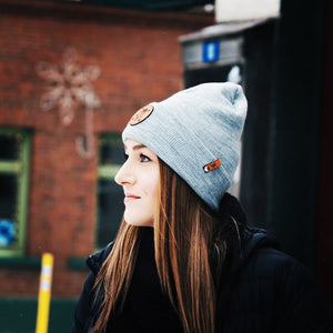 Lady Emerald ENC Leather Patched Heather Grey Beanie