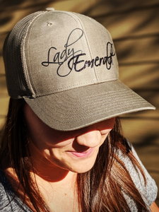 Lady Emerald Black Sparkle on Military Green Trucker Snapback