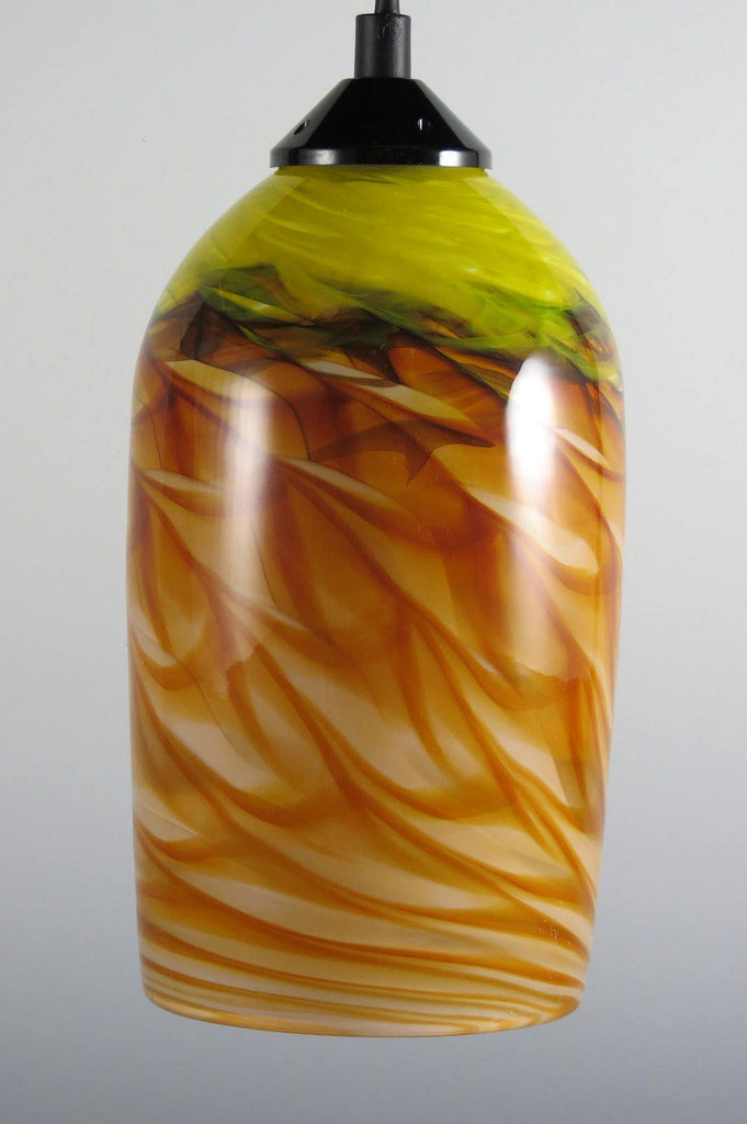 Amber Yellow Optic Blown Glass Pendant Lamp