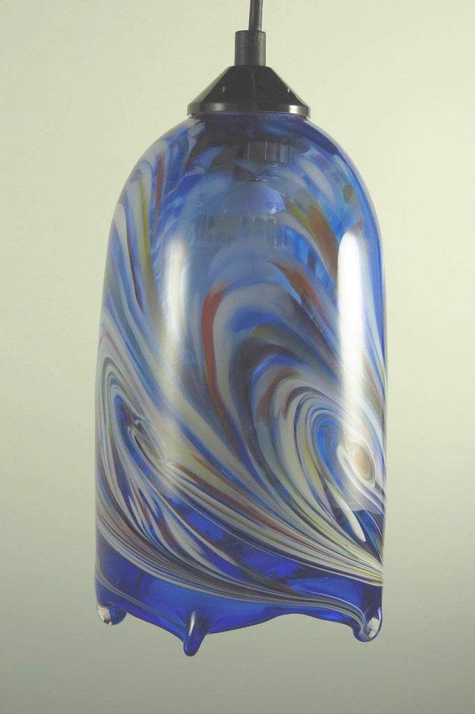 Blue Flame Blown Glass Pendant Lamp
