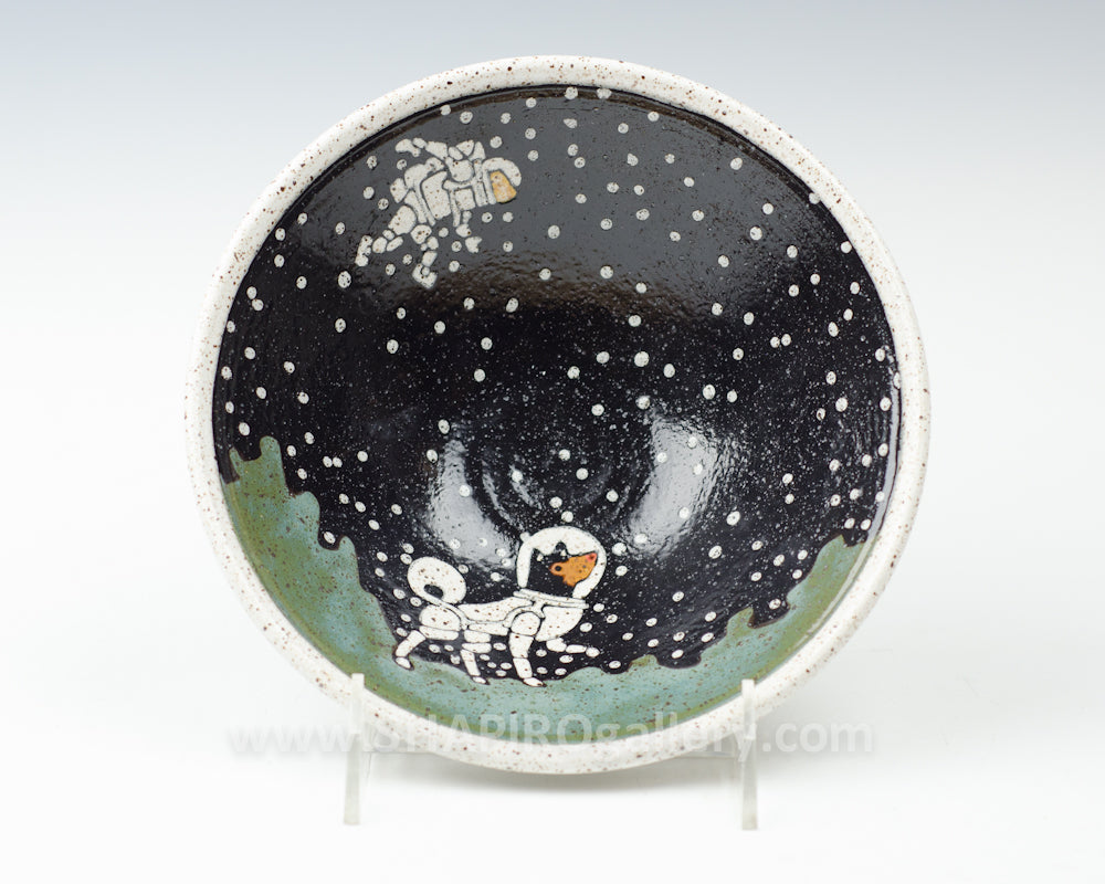 Dog and Astronaut Small Bowl Green
