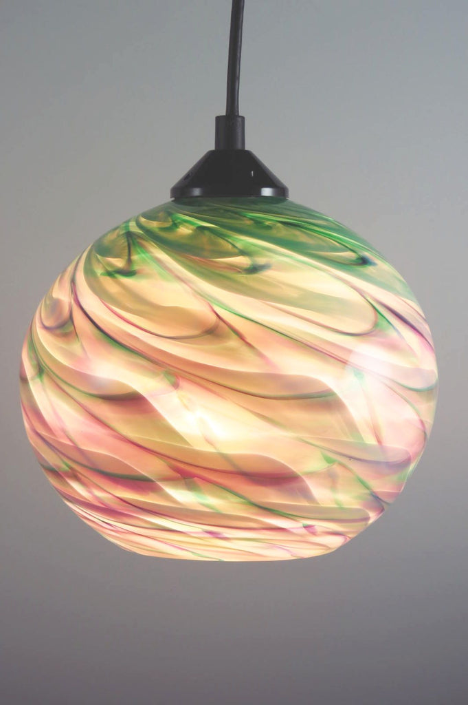CX Green Optic Blown Glass Pendant Lamp