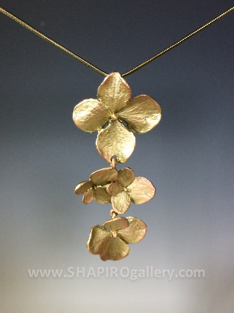 Hydrangea Three Flower Necklace