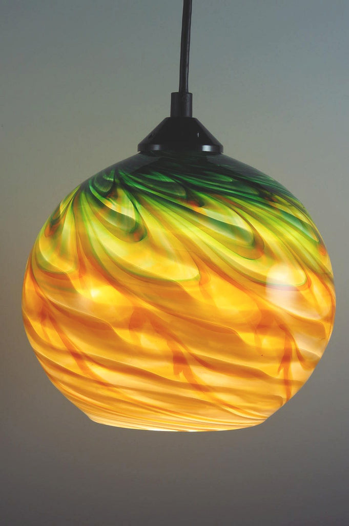 Green Gold Optic Blown Glass Pendant Lamp