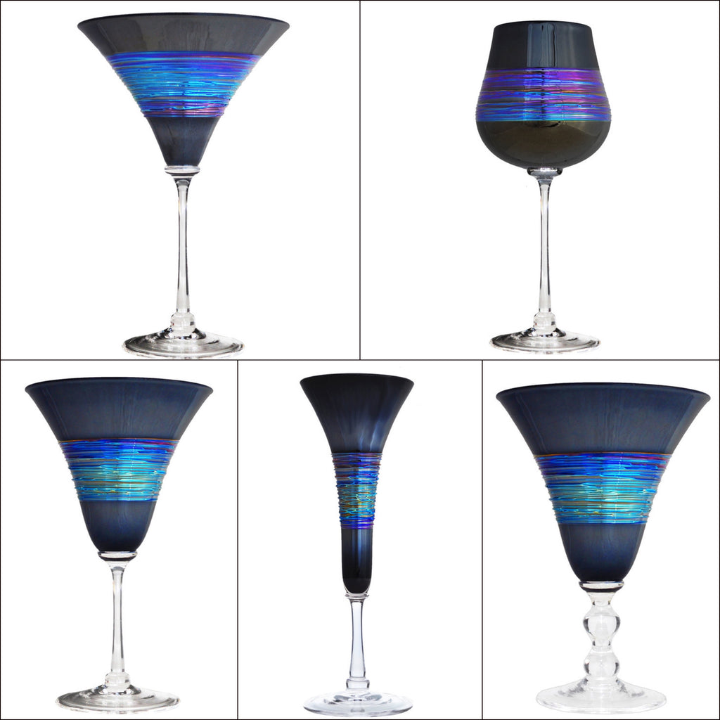 Rainbow Spun Black Stemware (multiple styles)