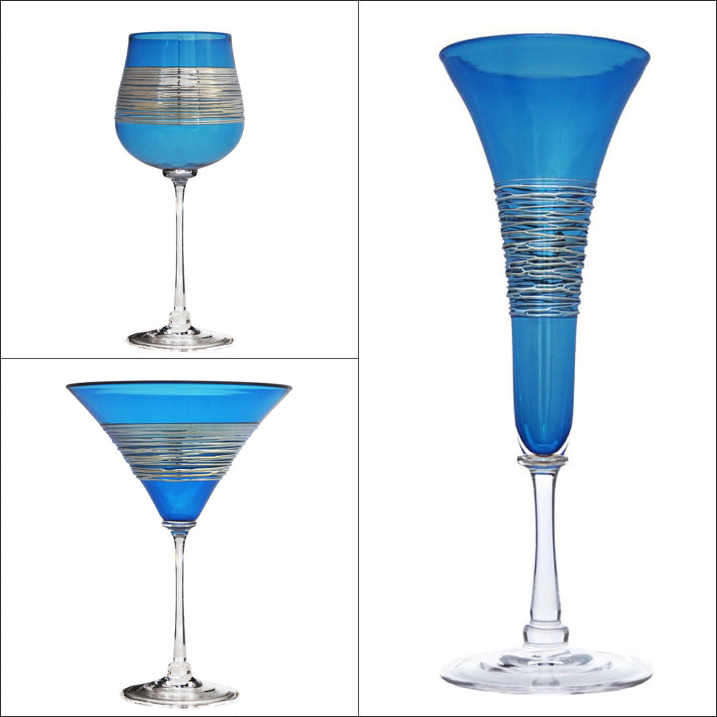 Silver Spun Turquoise Stemware (multiple styles)