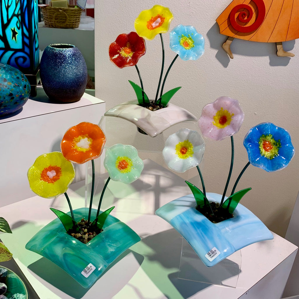 Fused Glass Ikebana Vase with Glass Flowers