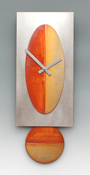 Steel Oval Copper Clock