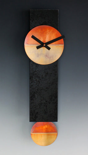 Narrow Black and Copper Clock