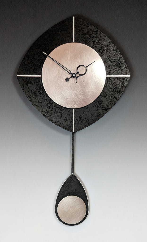 Black and Steel Drop Clock
