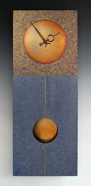 Blue and Gold Pendulum Clock