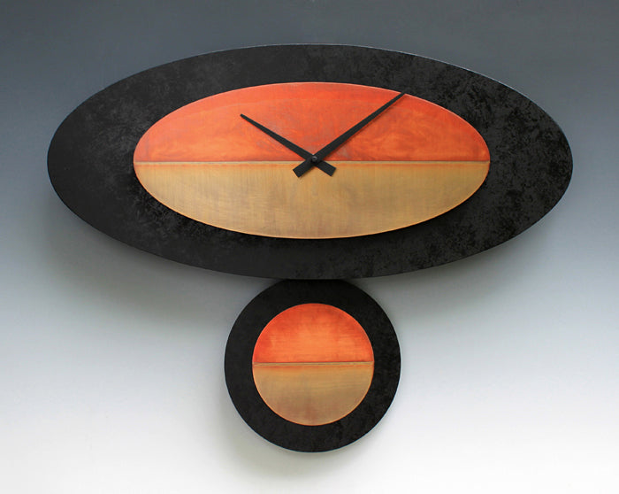 Black and Copper Oval Pendulum Clock