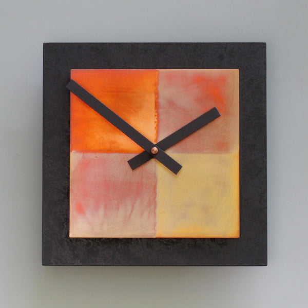 Black and Copper Square Clock