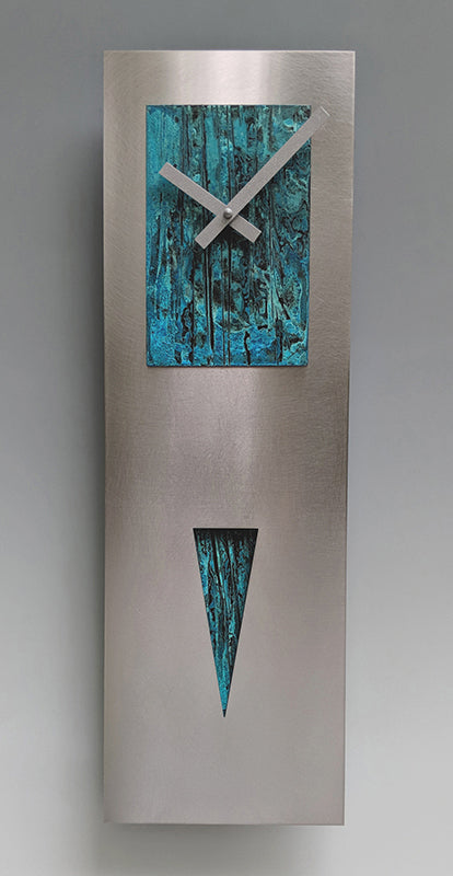 Steel and Verdigris Spike Clock