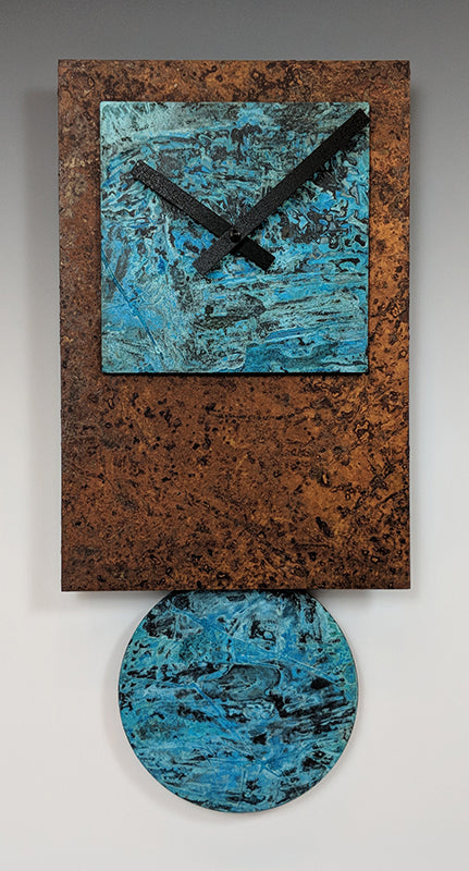 Rust and Verdigris Tie Clock
